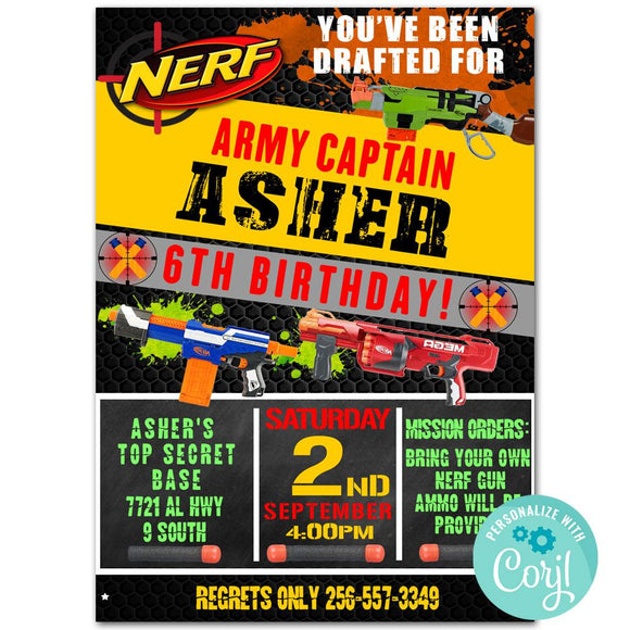 Nerf Birthday Party Invitation, Nerf Theme Birthday Party Invitation Corjl