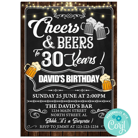 30th Birthday Party Invitation, Cheers And Beers Theme Birthday Party Invitation Corjl - babyshowerinvitations911.com