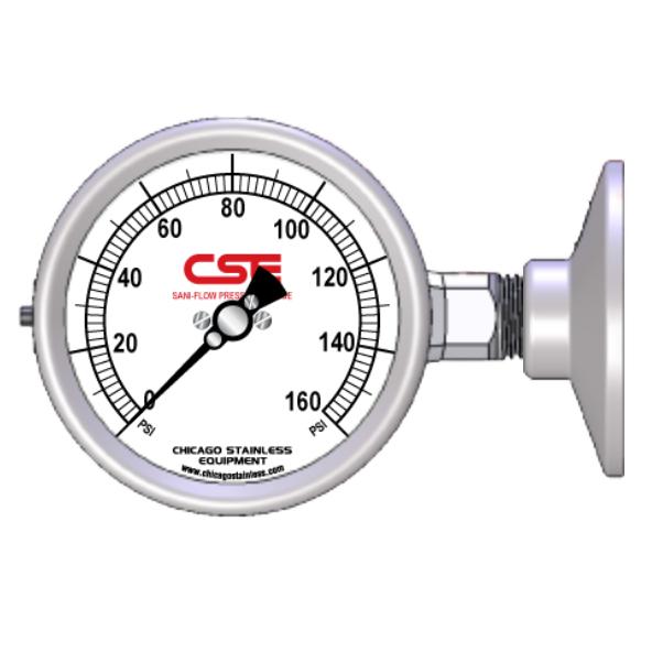 "2-1/2"" (67mm) Sani-Flow Brewery Pressure Gauge"