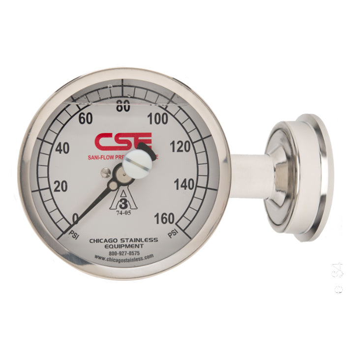 "3-1/2"" (90mm) Sani-Flow Pressure Gauge with Side Mount"
