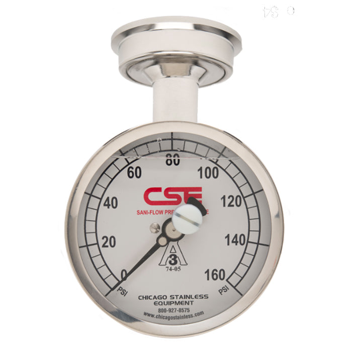 "3-1/2"" (90mm) Sani-Flow Pressure Gauge with Top Mount"