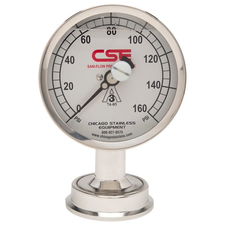 "3-1/2"" (90mm) Sani-Flow Pressure Gauge with Bottom Mount"
