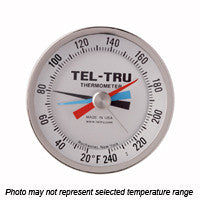 "Tel-Tru Bimetal MM525R Back Connected Thermometer 5"" Min and Max Temp"