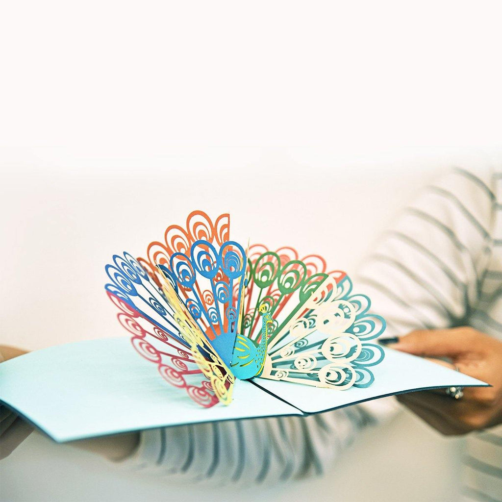 Multicolor Peacock 3d pop up greeting card
