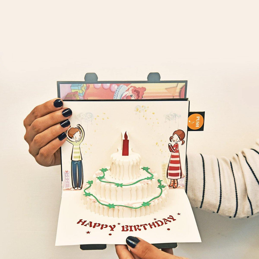 Birthday Card with Cake and Musical Candle - Gift Kya De