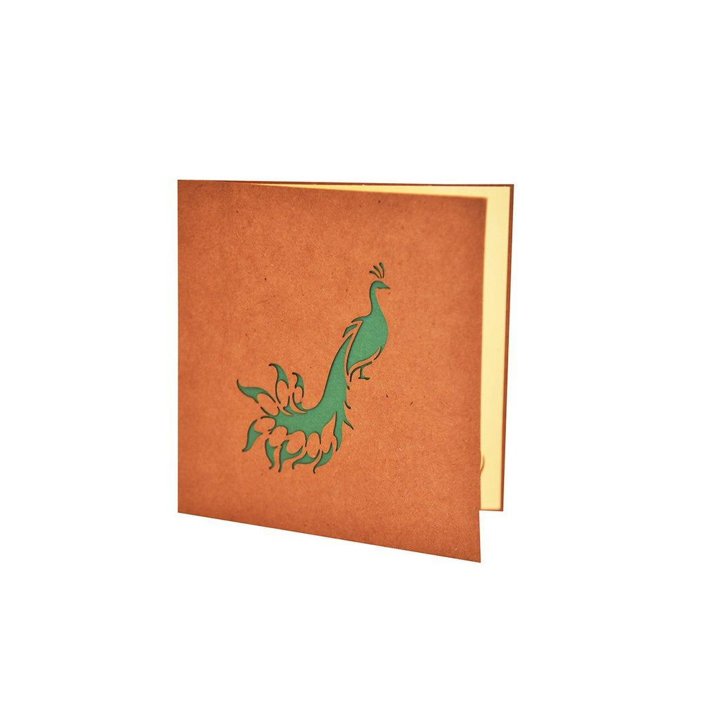 3d peacock pop up greeting card
