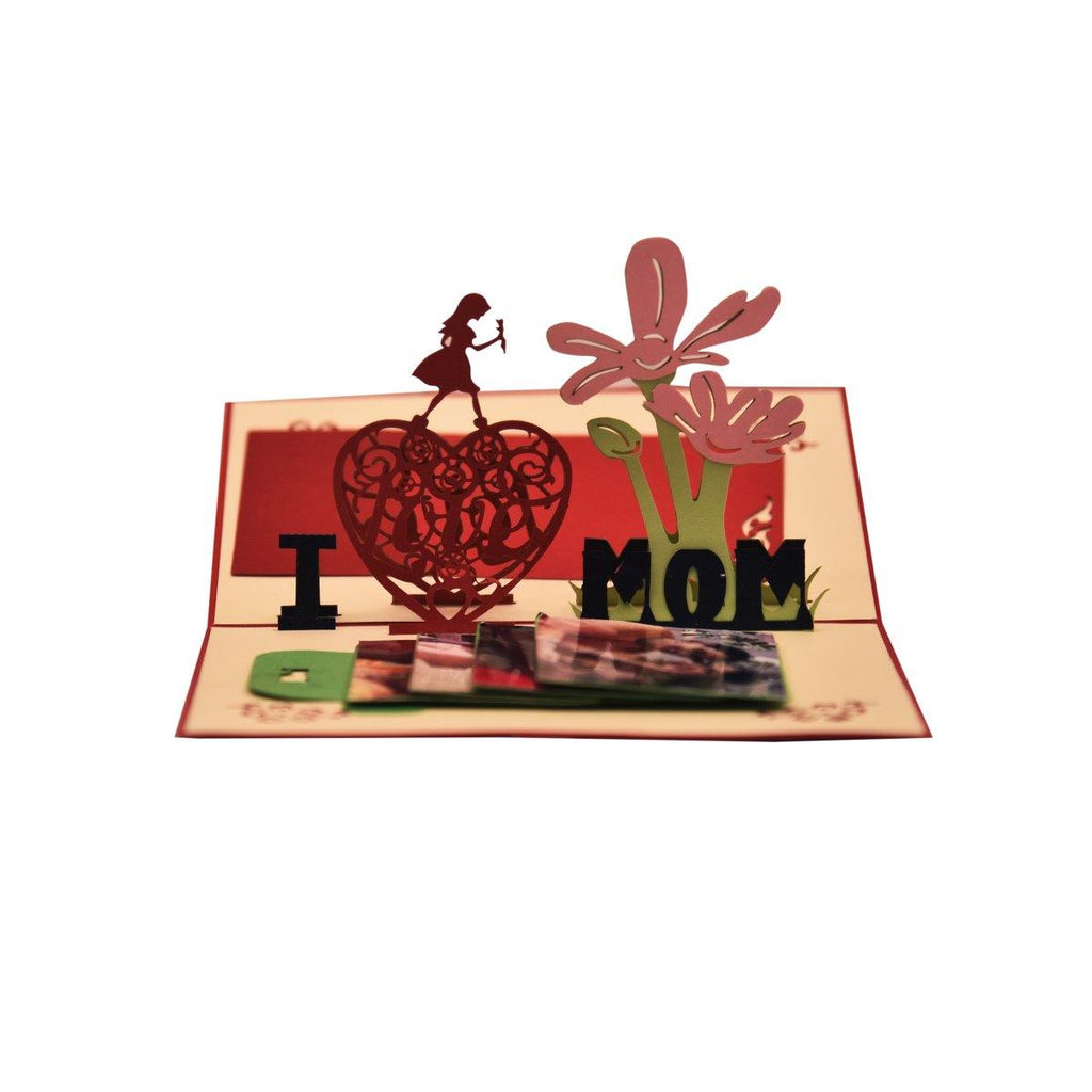 PERSONALIZED  I love Mom 3D Pop Up Greeting Card - Gift Kya De