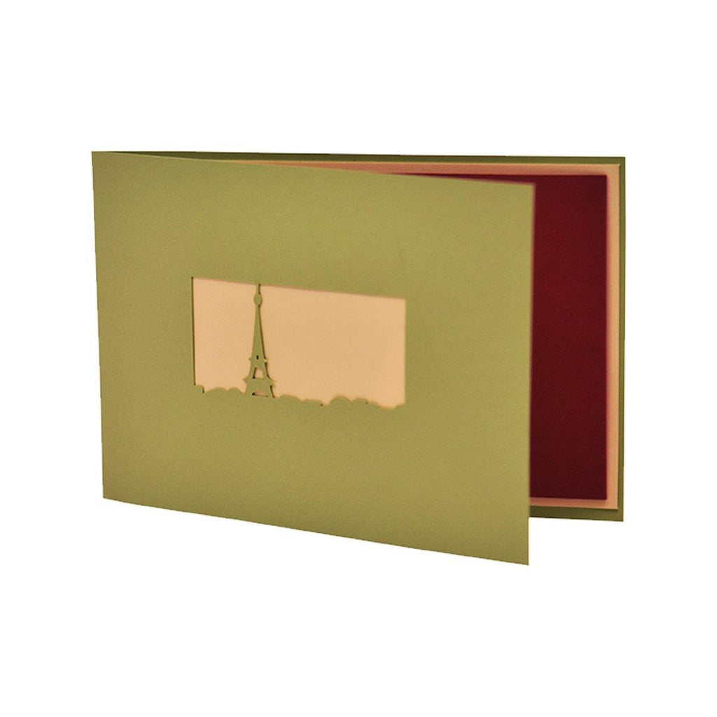 PERSONALIZED Green EIFFEL TOWER 3D POP UP GREETING CARD