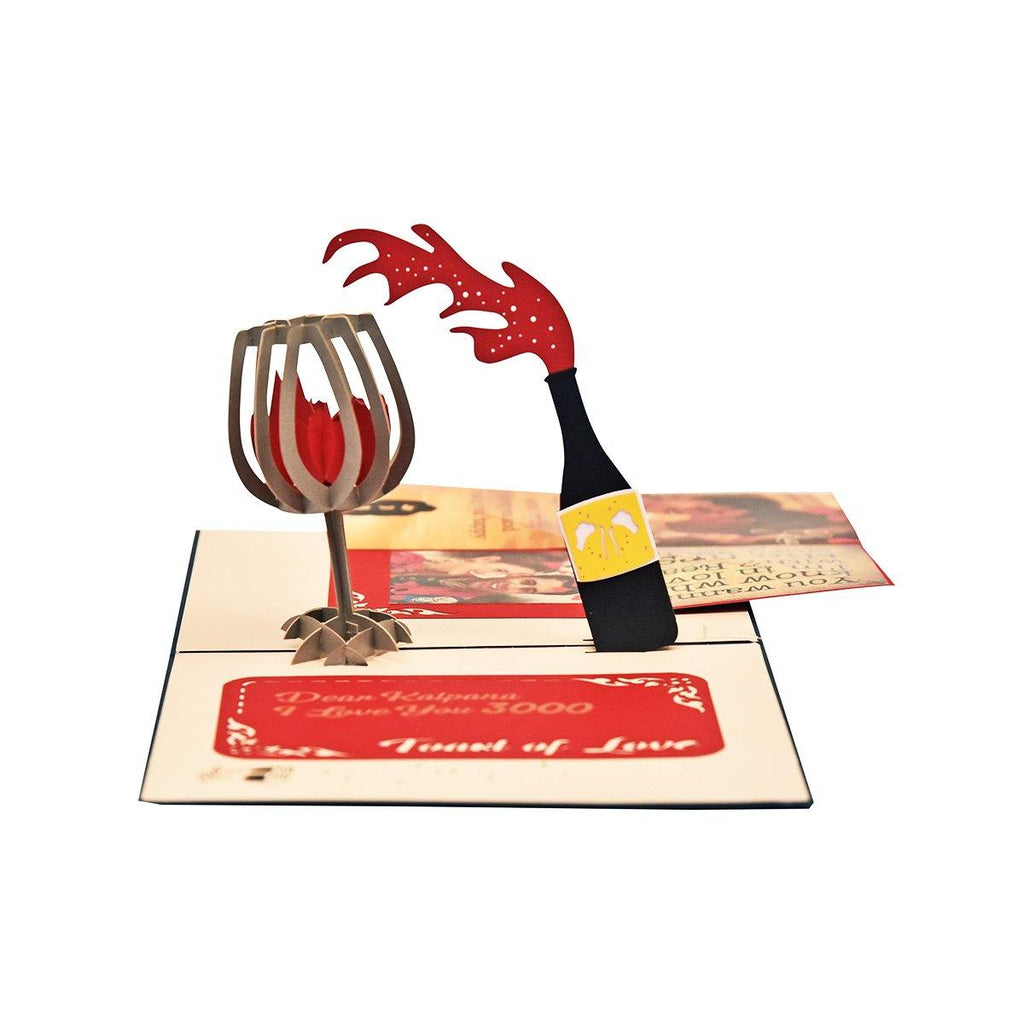 PERSONALIZED 3D RED WINE POP UP CARD - Gift Kya De