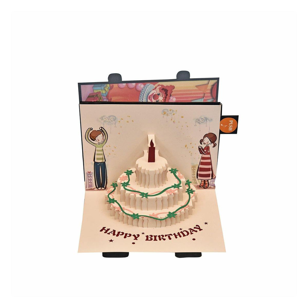 Birthday Card with Cake and Musical Candle