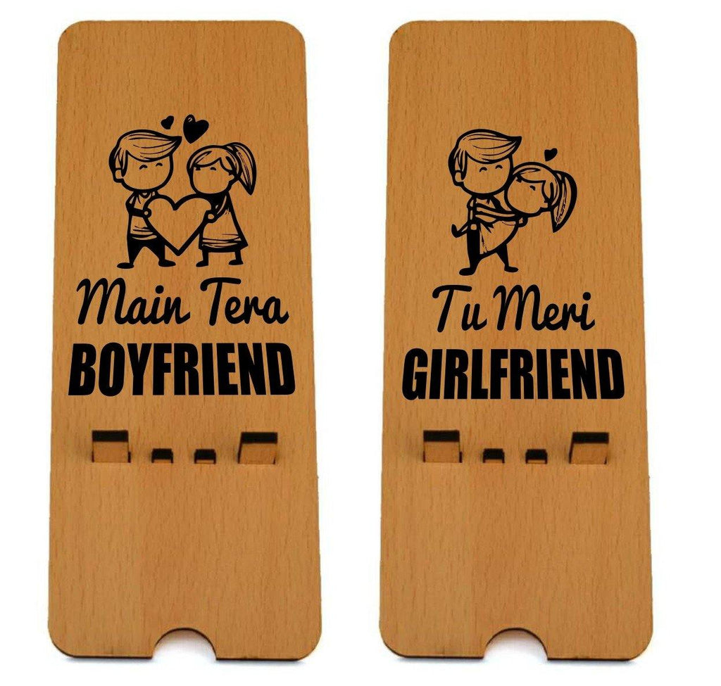 Boyfriend - Girlfriend Edition Wooden Mobile Stand ( Pack of 2 )