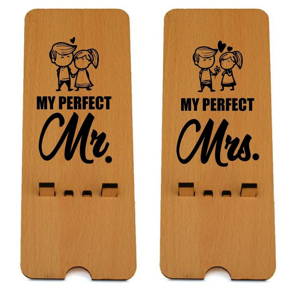 Perfect Couple Edition Wooden Mobile Stand ( Pack of 2 )