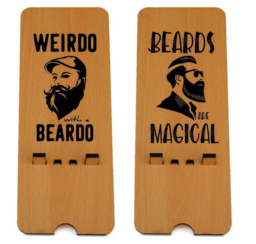 Beard Edition Wooden Mobile Stand ( Pack of 2 )