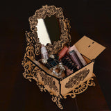 WOODEN JEWELLERY BOX ORGANIZER WITH MIRROR