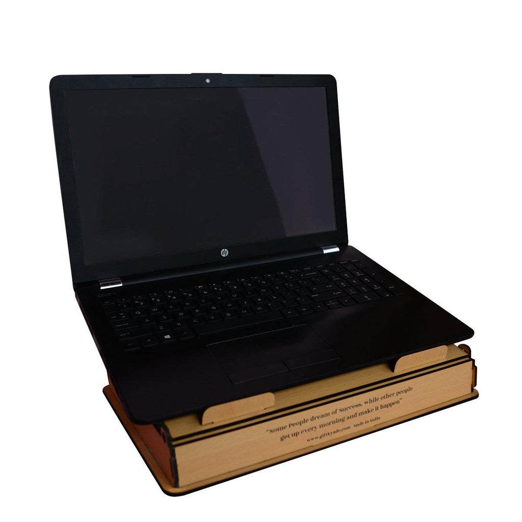 WOODEN LAPTOP STAND PLUS STORAGE BOX ( 2 Level Height Adjustable )