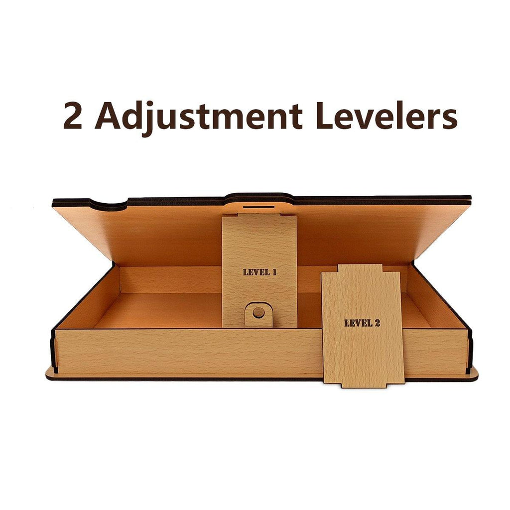 WOODEN LAPTOP STAND PLUS STORAGE BOX ( 2 Level Height Adjustable ) - Gift Kya De
