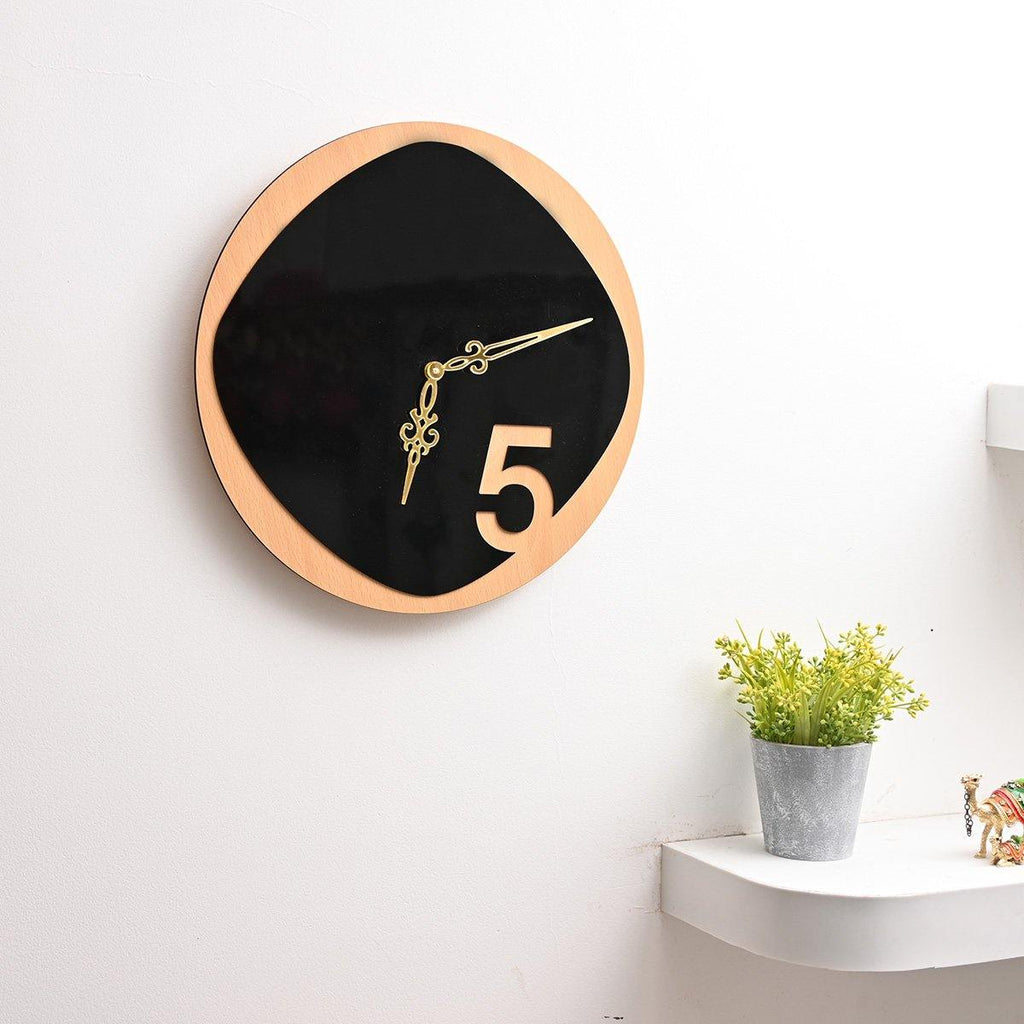 DUAL TONE WOODEN WALL CLOCK ( BROWN & BLACK THEME ) 14 INCH SIZE - Gift Kya De