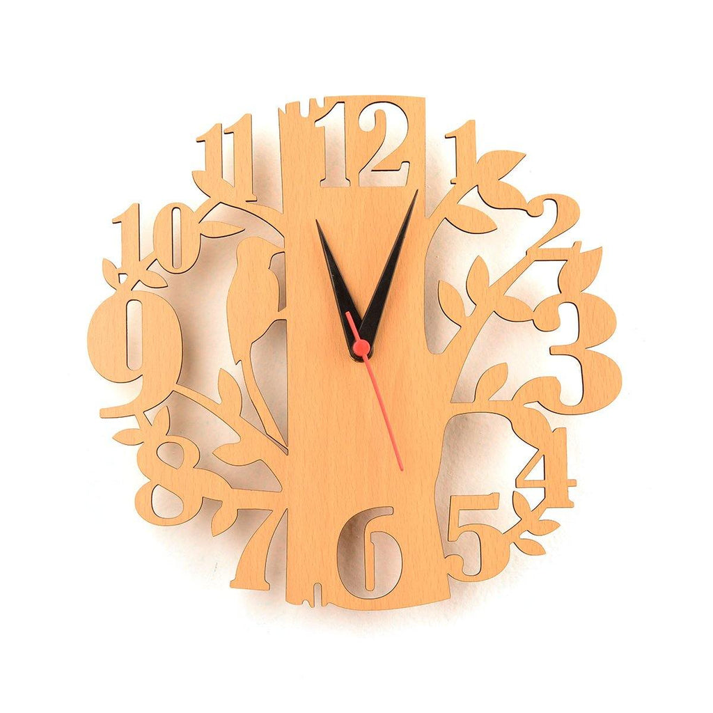 WOODEN WALL CLOCK (BIRD AND TREE THEME)