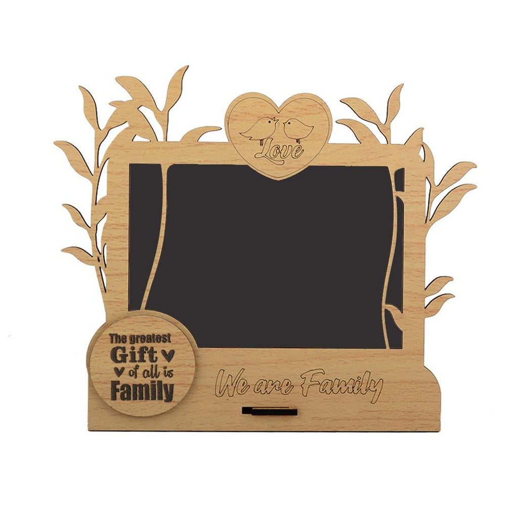 Wooden We are family Photo Frame Love Birds Table Top 4x6 - Gift Kya De