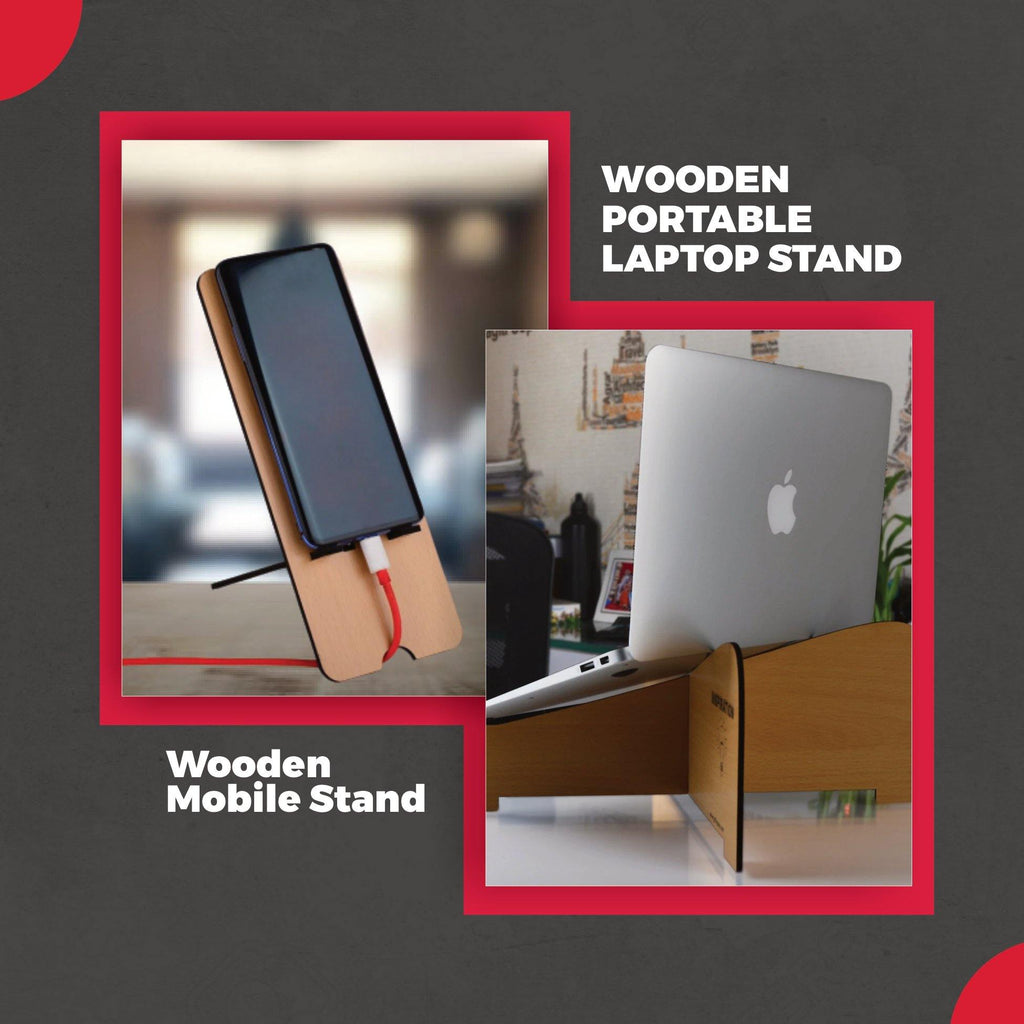 Wooden Portable Laptop Stand & Mobile Stand COMBO OFFER - Gift Kya De