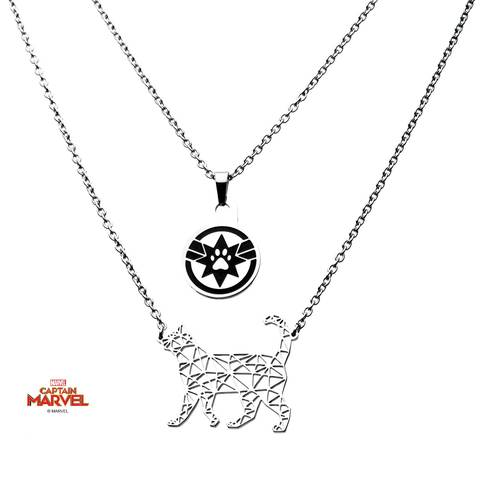 Captain Marvel Goose Cat 2-Tiered Necklace