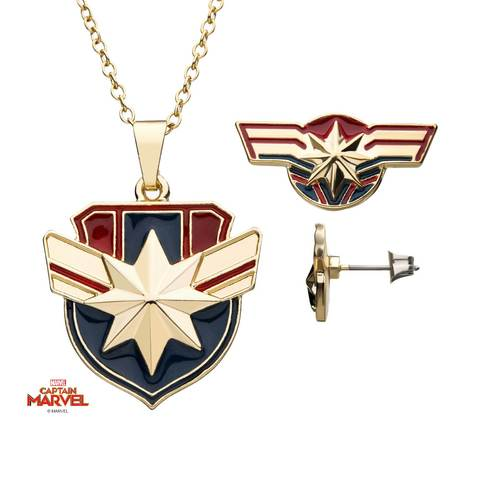 Captain Marvel Stud Earrings and Pendant Necklace Set