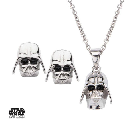 star wars 3d darth vader stud earrings and pendant necklace set