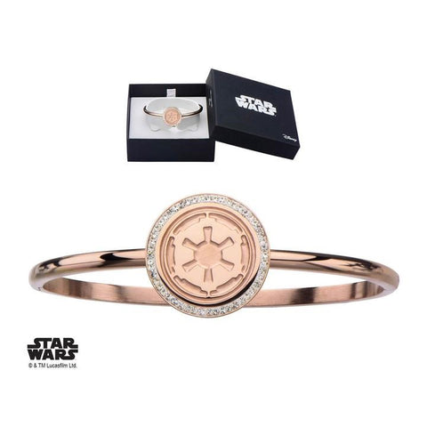 star wars galactic empire symbol with cz bangle bracelet
