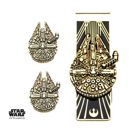 star wars episode 8 gold plated millennium falcon money clip and cufflinks set