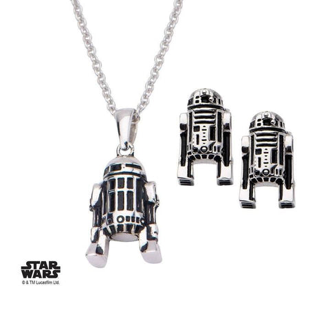 star wars 3d r2-d2 stud earrings and pendant necklace set