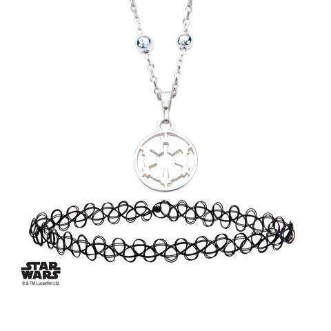 Star Wars Imperial Symbol Pendant With Black Choker Necklace Set