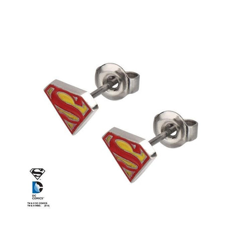 dc comics red/yellow epoxy superman logo stud earrings
