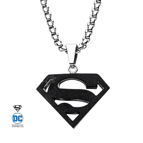 dc comics superman black pendant necklace
