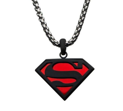 dc comics superman black & red pendant necklace