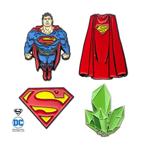 dc comics superman lapel pin set (4pcs)