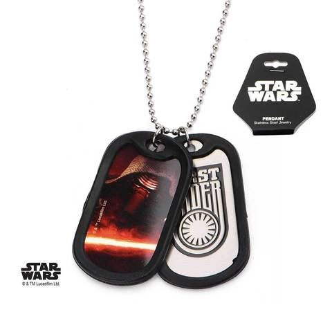 star wars episode 7 first order kylo ren rubber silencer double dog tag pendant necklace