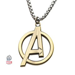 "13.	Gold Avengers ""A"" logo Pendant Necklace"