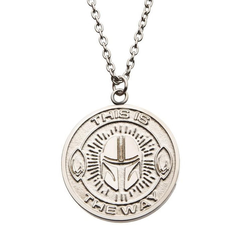 mandalorian sterling silver pendant necklace