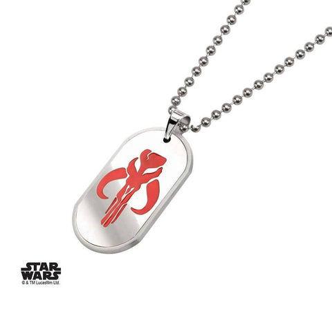 mandalorian symbol stainless steel dog tag pendant necklace