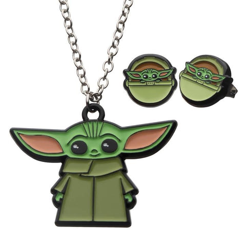 mandalorian the child stainless steel & pendant necklace set