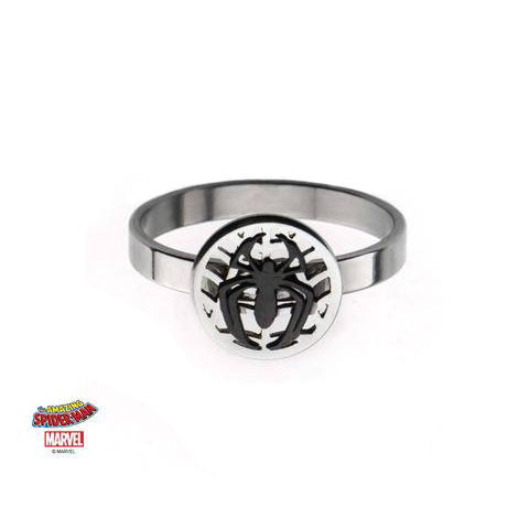 marvel cut out spider overlapped on spider web petite ring