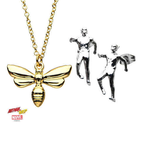Marvel Ant-Man Stud Earrings and Wasp Pendant Necklace Set