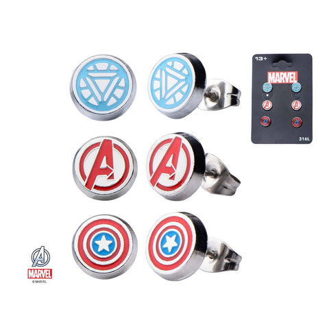 "Marvel The Avenger ""A"" Logo,Captain America and Iron Man Stud Logos Earrings Set"