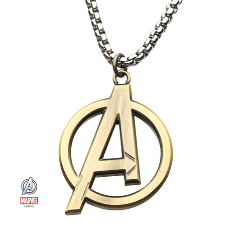 "Marvel Cut Out Golden The Avengers ""A"" Logo Pendant Necklace"