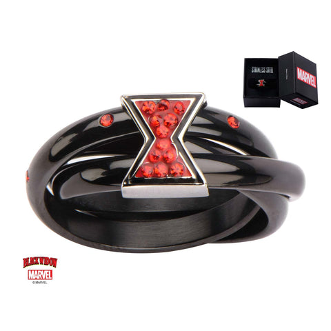 Marvel Interlocking Black Widow Logo Ring