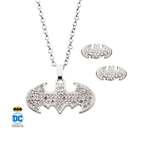 DC Comics Batman Stud Earrings & Pendant Necklace Set