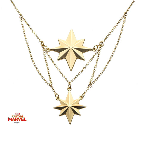 Captain Marvel Logo Interconnecting 2-Tiered Necklace