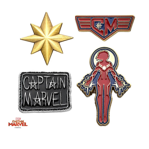 Captain Marvel Enamel Lapel Pin Set (4pcs)