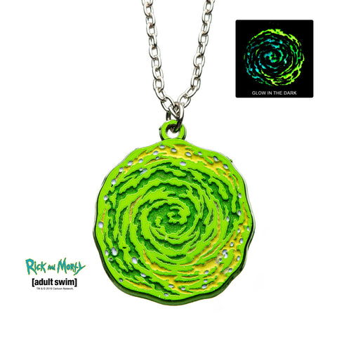 Rick and Morty Glow in the Dark Portal Enamel Pendant Necklace