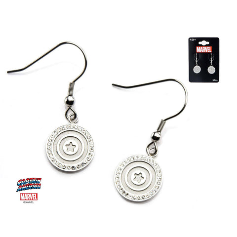 Marvel Captain America Shield Logo with Clear CZ Dangle Earrings